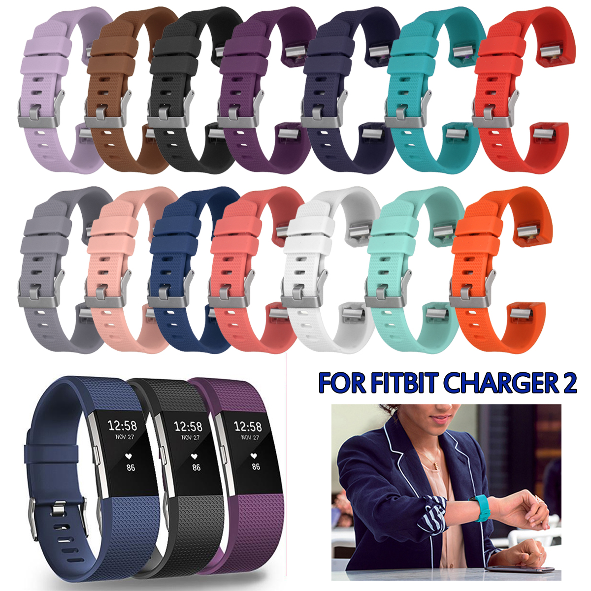Large Size Silicone Smart Heart Rate Bracelet Replacement Strap for Fitbit Charge 2