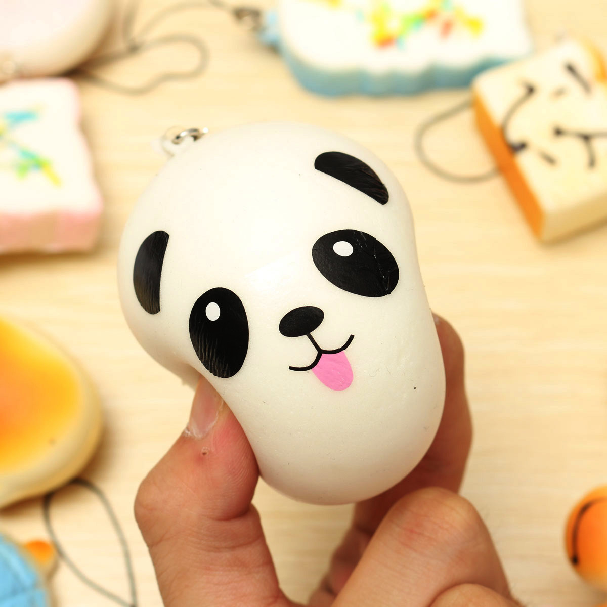 10pcs Random Squishy Soft Panda Bread Cake Buns Phone