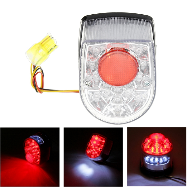Buy 12V Motorcycle LED Rear Light License Plate Lamp Universal Tail Brake Stop Turn Signal