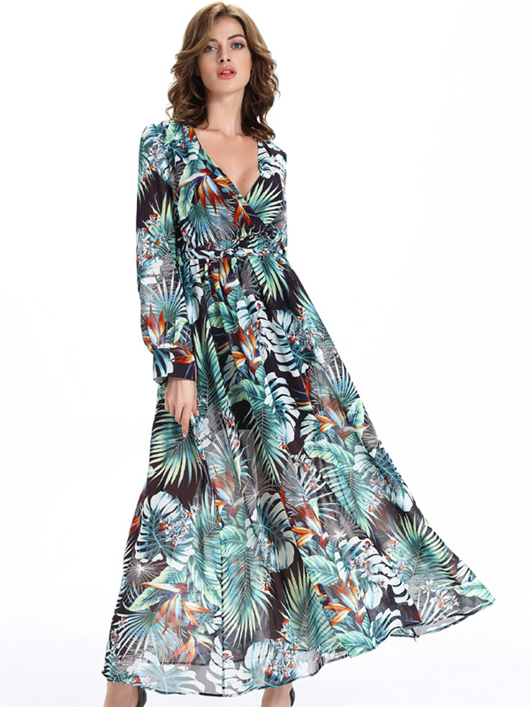 Sexy Chiffon Printing V-Neck Long Sleeve Belt Women Maxi Dress
