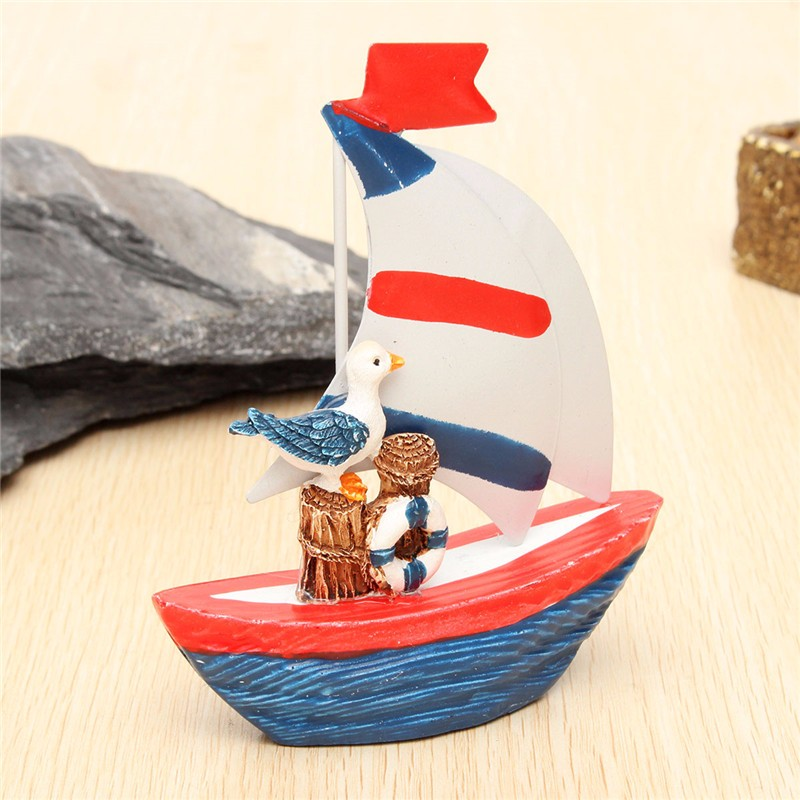 New Nautical Decor Mini Wooden Craft Sailing Boat Home Party Table Desk Dislpay - Photo: 2