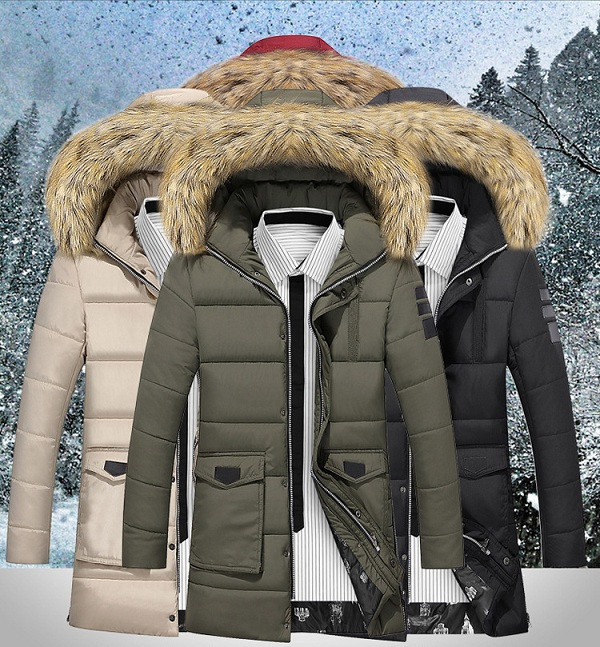 Buy Mens Multicolor Long Fur Collar Coat Winter Business Casual Warm Thick Cotton-padded Down Jacket