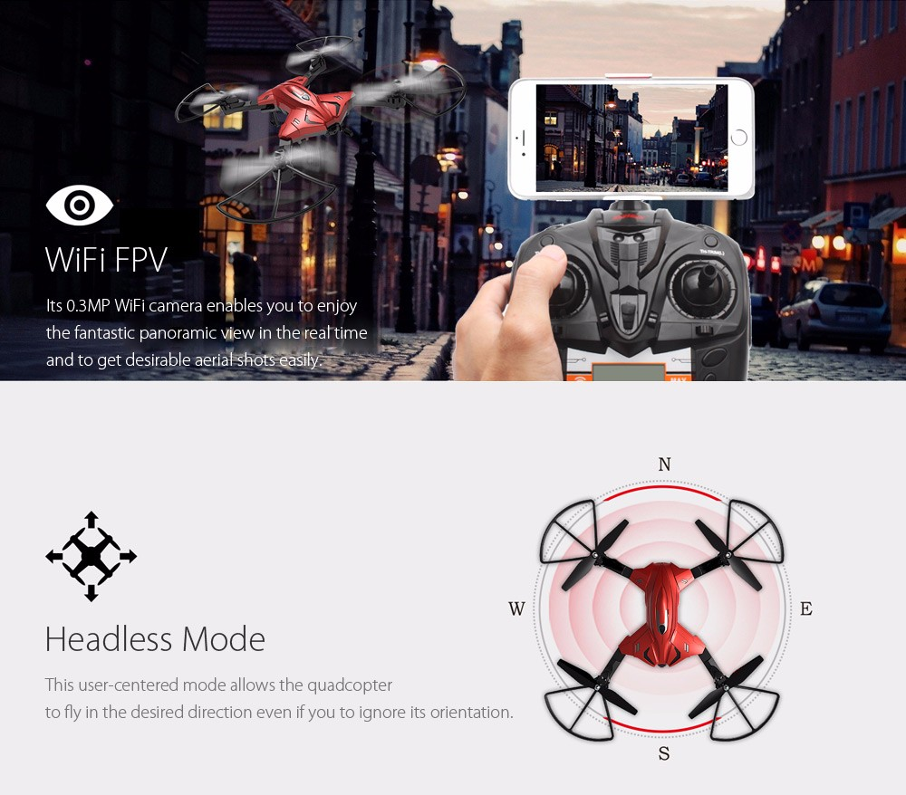 Skytech TK110HW WIFI FPV With 720P HD Camera Foldable 2.4GHz 6 Axis Gyro RC Quadcopter RTF - Photo: 4