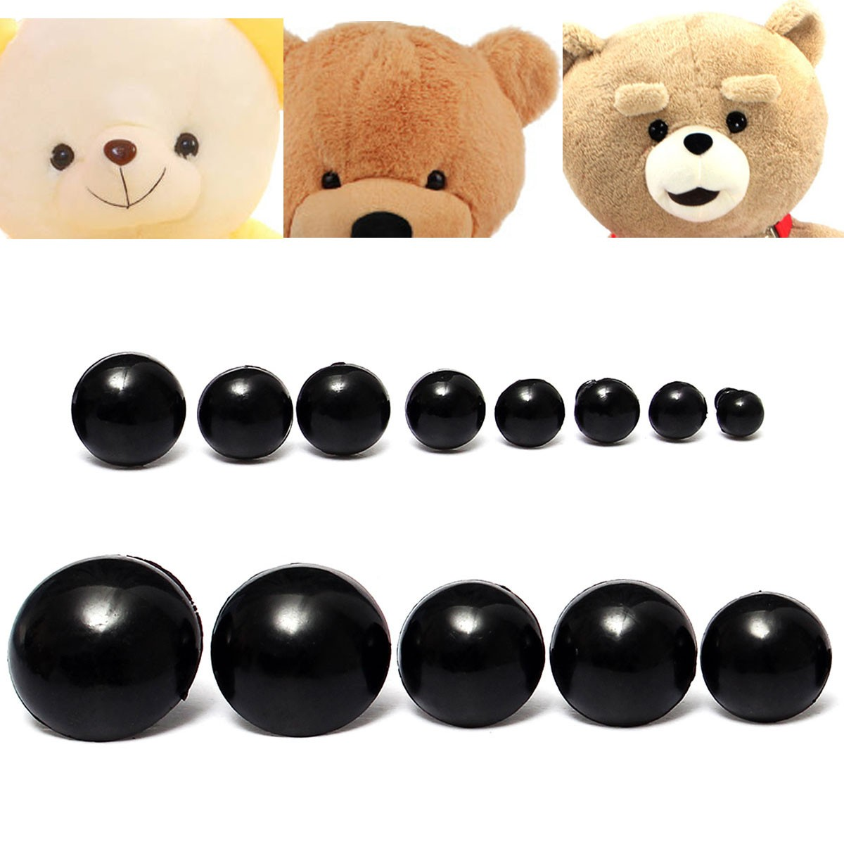 Buy 156 to 24mm Children Kid Black Plastic Safety Eyes Washers Teddy Bear Doll Animal DIY Case Toys