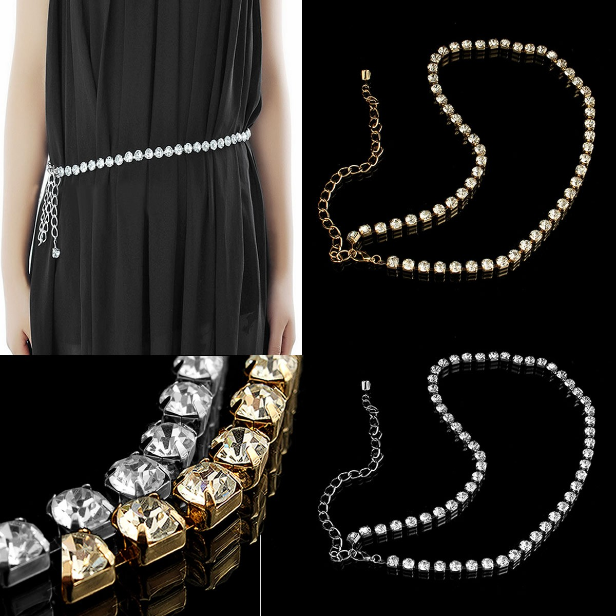 Lady's Sexy Crystal Belt Belly Waist Chain Necklace Body jewelry