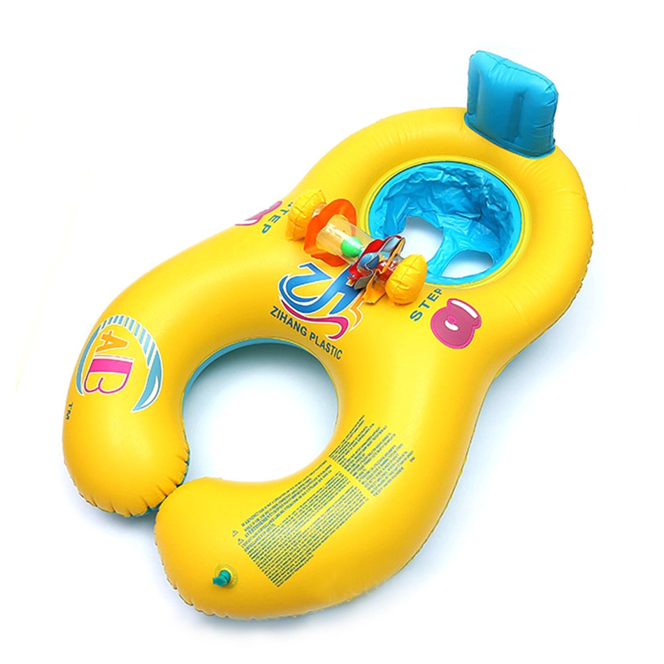 Parent-child Inflatable Swimming Ring Double Ring Kids Float Pool Toy