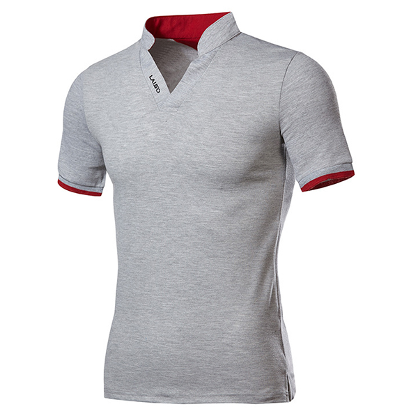 Fashion Leisure V-neck Solid Color T-shirts Men's Outdoor Casual Short Sleeve Tops...