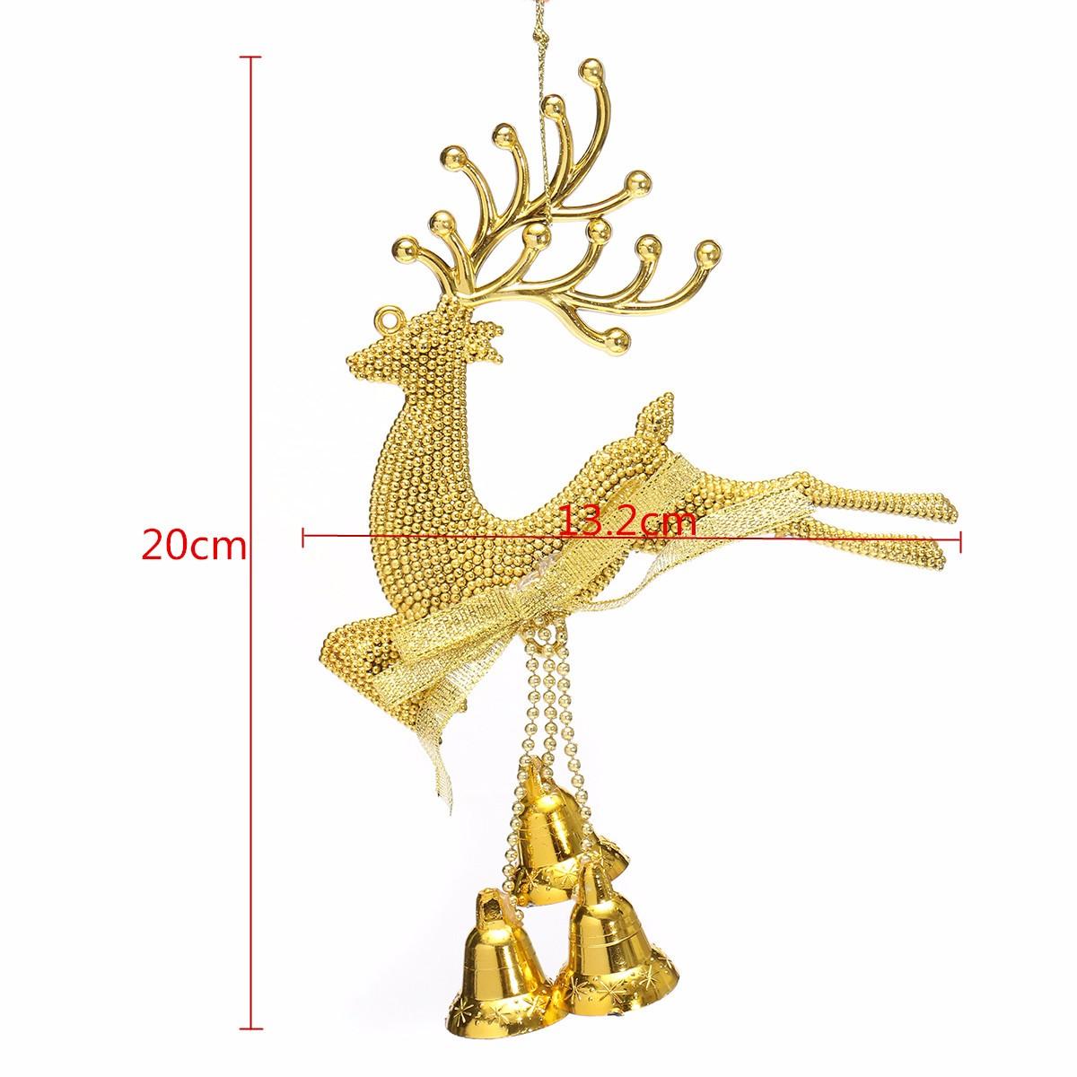 Christmas Tree Reindeer Elk Deer Bell Ornament Pendant Xmas Party ...