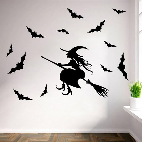 creative halloween haunted house glass witch wall stickers background decoration sticker wall art - Halloween Wall Decoration