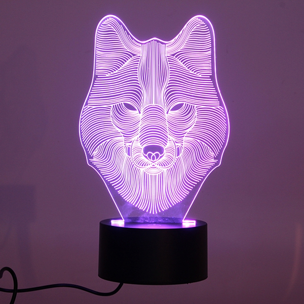 3d Animal Wolf Touch Control Table Lamp 7 Color Changing