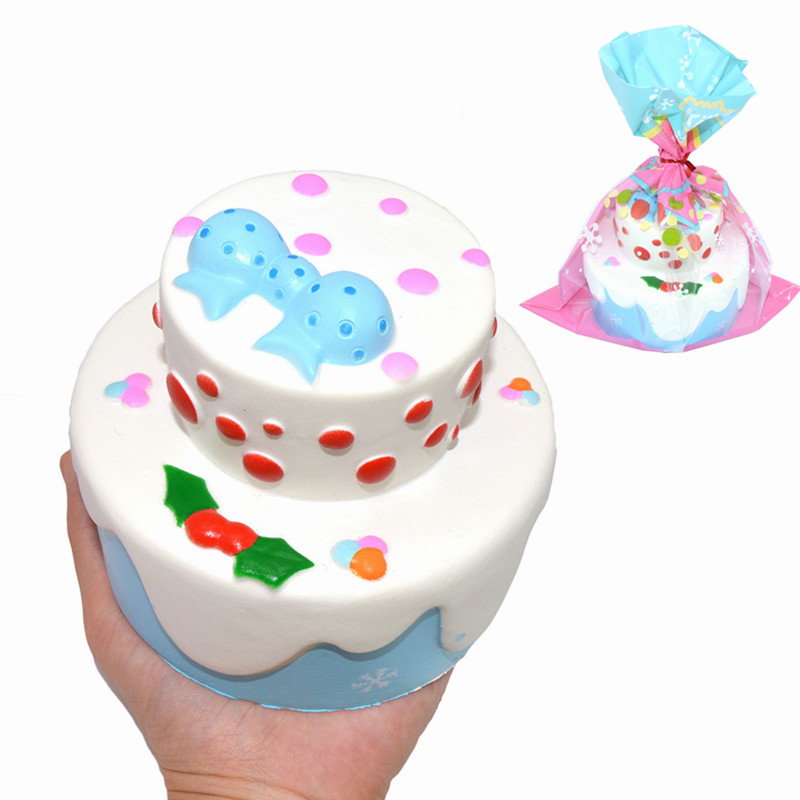 Kiibru Squishy Bowknot Snow Christmas Cake 11cm Slow Rising Original Packaging Collection Gift Toy