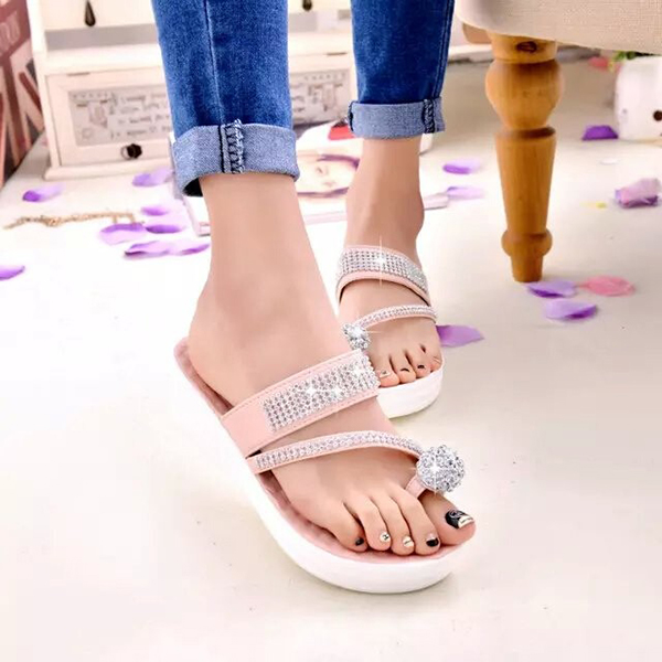 Buy Women Casual Comfortable Slip On Platform Toe Ring Flip Flop Sandals Beach Slipper Shoes