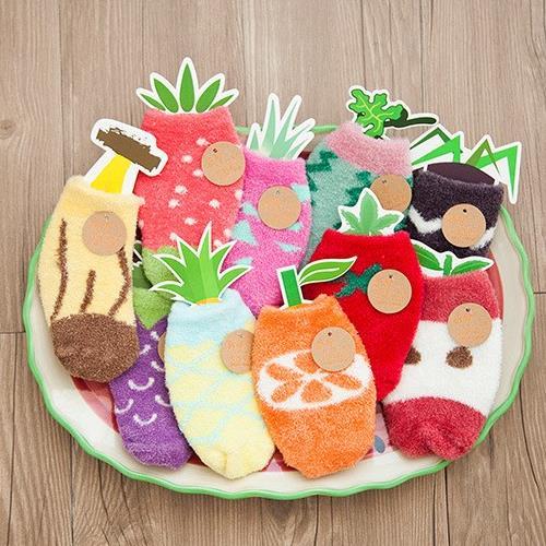 Unisex Kids Cartoon Fruit Coral Cashmere Socks Thickening Warm Wool Non-slip Floor Socks