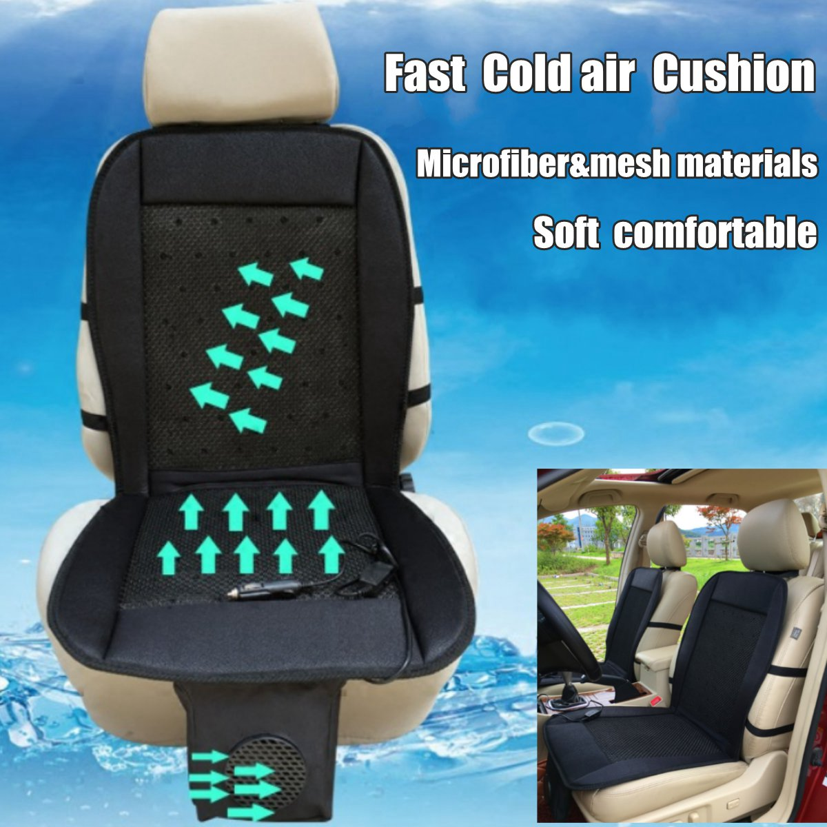 12v Cooling Car Seat Cushion Cover Air Ventilated Fan