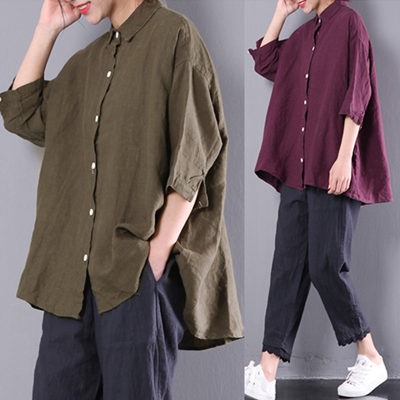 M-5XL Solid Color Half Sleeve Turn-Down Collar Casual Women Blouse