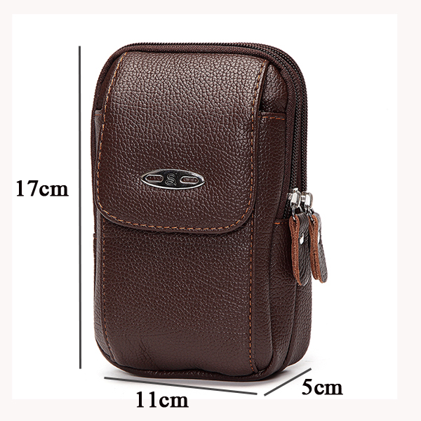 6inch Mobile Phone Waist Bag Leather Belt Business Waist Bag