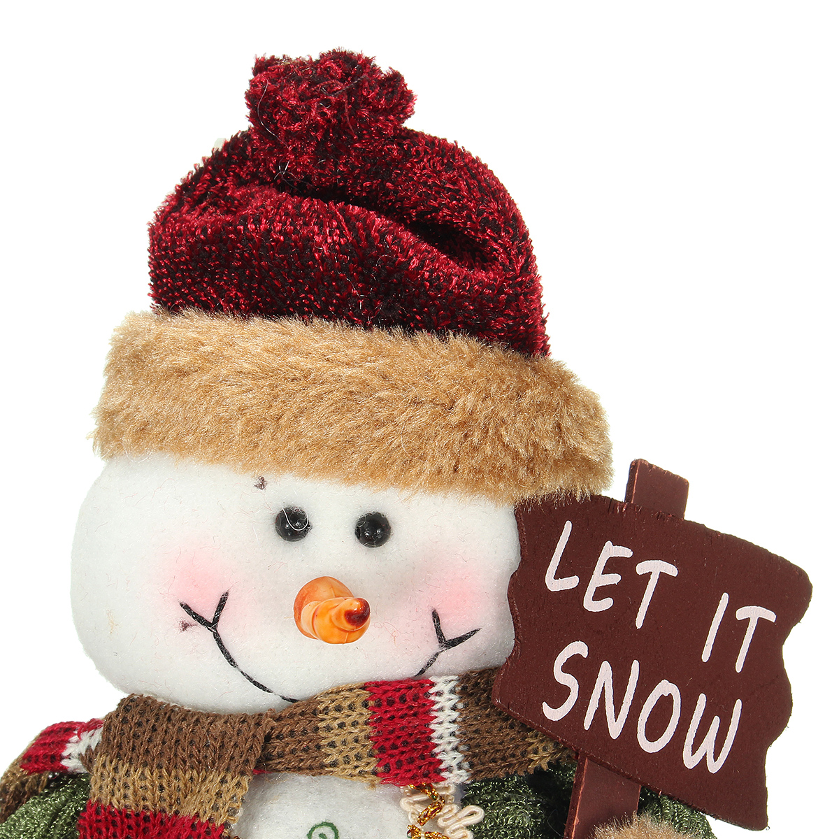 Christmas Home Decoration Sitting Cute Snowman Ornament Flannel Toy Gift - Photo: 4