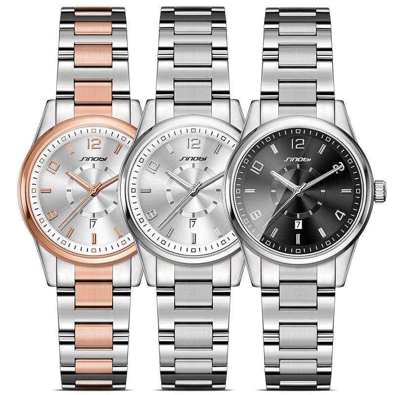 SINOBI Moda Mujer Relojes AMT impermeable ronda Dial Casual Ladies acero inoxidable