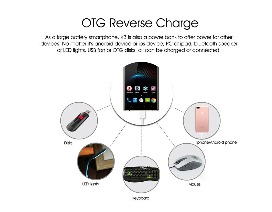 Oukitel K3 5.5 pulgadas cámaras delanteras y traseras 4GB RAM 64GB ROM MT6750T Octa-Core 6000mAh batería 4G Smartphone