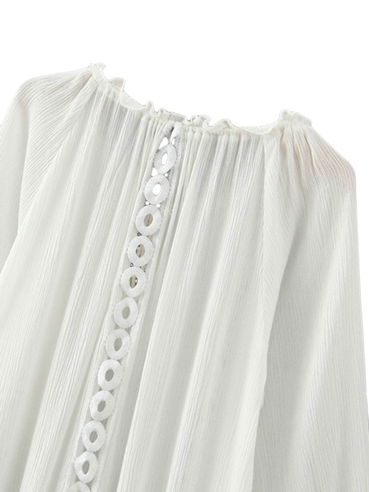 Ethnic White Fringe Embroidery Hollow Out Long Sleeve Women Tunic Blouse