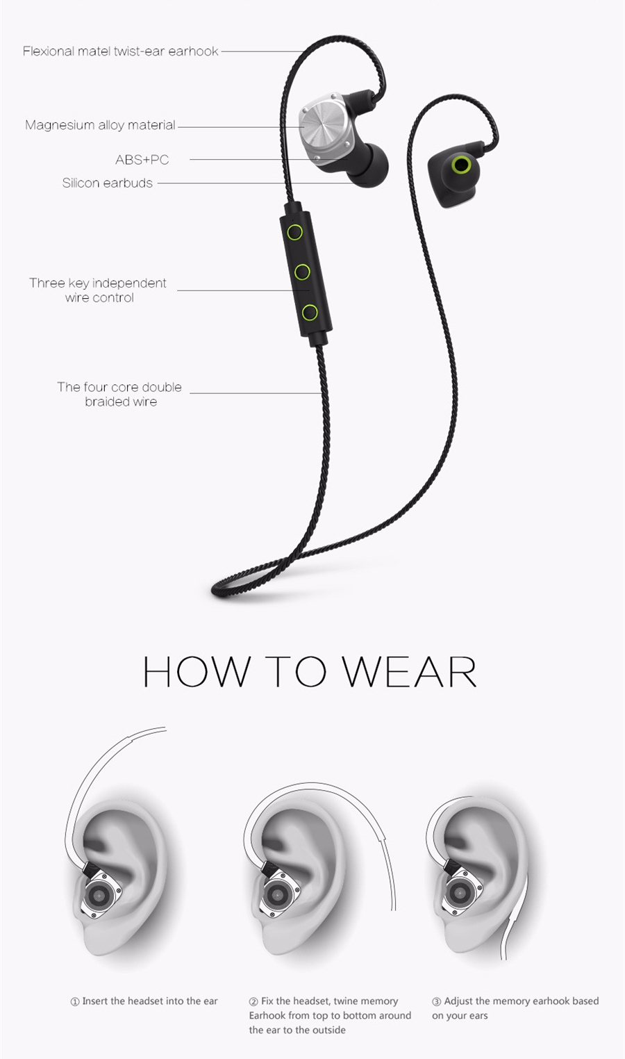 Mifo U6 In-ear Sport IPX6 Waterproof Voice Guide Stereo HiFi V4.2 Bluetooth Earphone With Mic