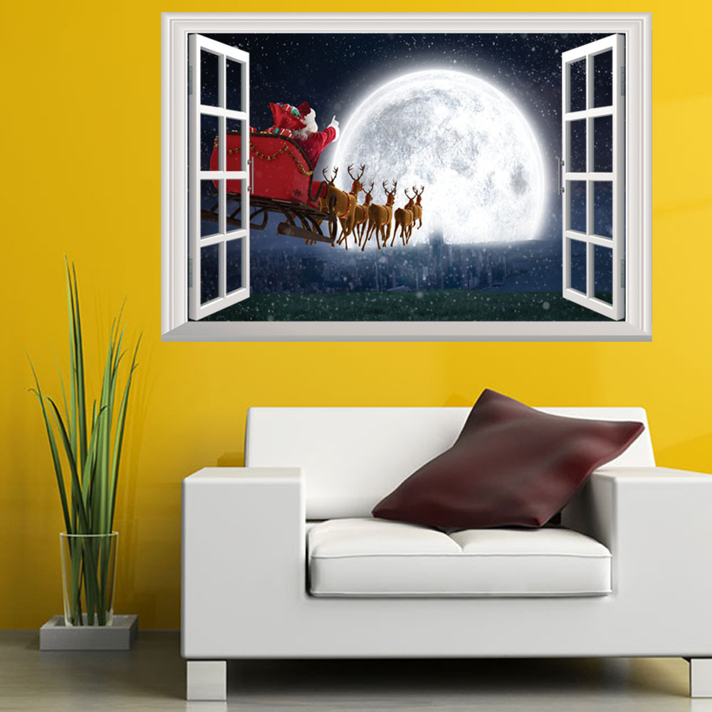 Holiday Decor - Christmas Wall Stickers Santa Claus Night View ...