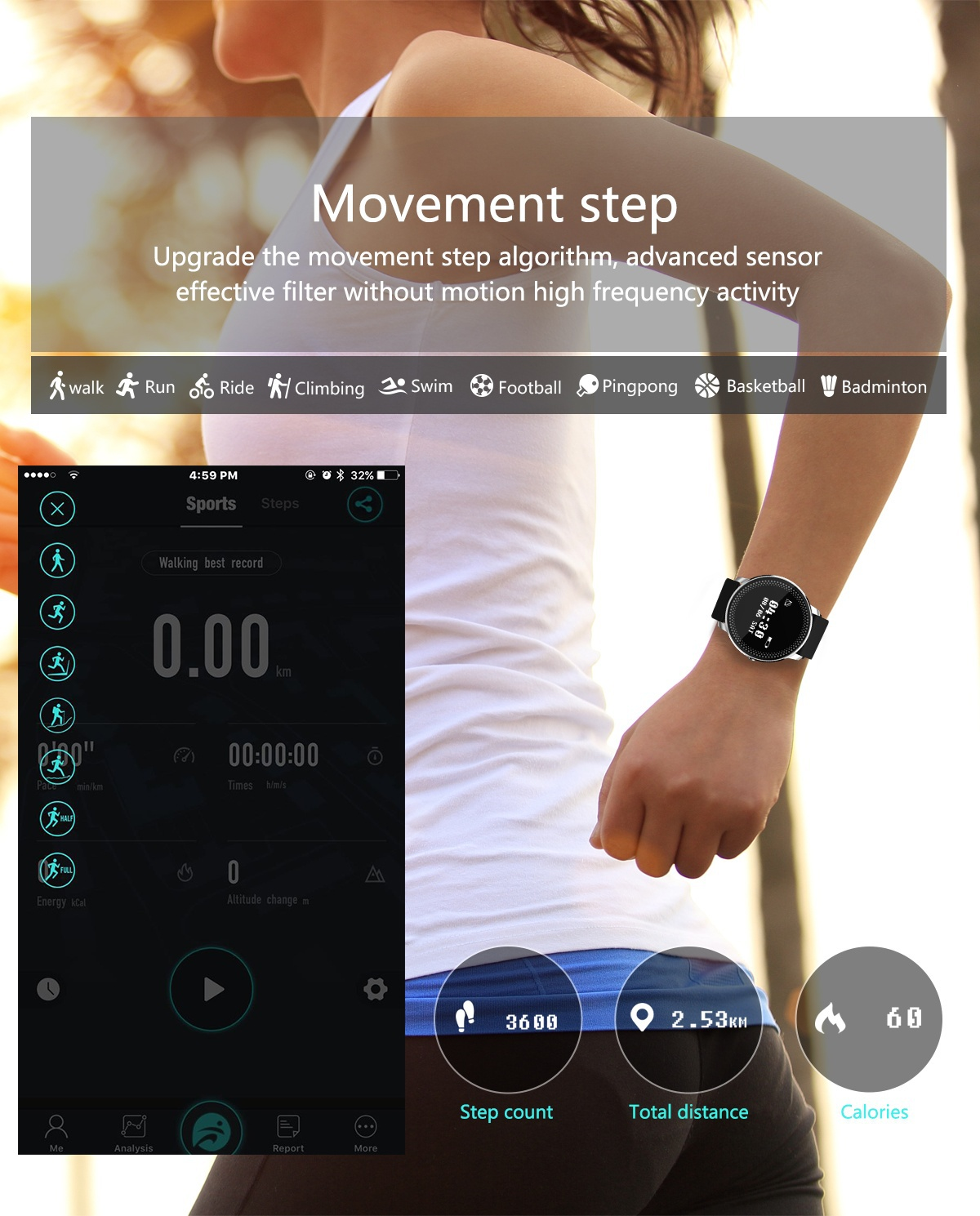 CF007 0.96 inch Heart Rate Monitor Pedometer Smart Bracelet For iphone X 8/8Plus Samsung S8 Xiaomi 6