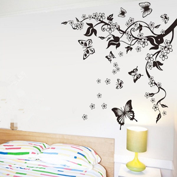 Home decor flowers butterfly removable wall paper stickers - Paredes pintadas decoracion ...