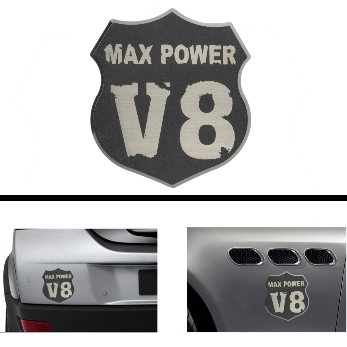3D Car Metal V8 MAX POWER Emblem Decal Emblem Badge Tru
