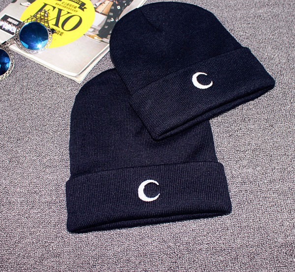 Buy Men Women Moon Knitted Wool Warm Hat Embroidery Thickening Pure Color Pile Cap Ski