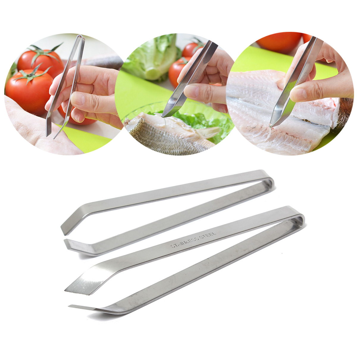 Stainless Steel Fish Bone Remover Pincer Puller Tweezer Tongs Pick-Up Tool Craft Home Kitchen Gadget SKU264757