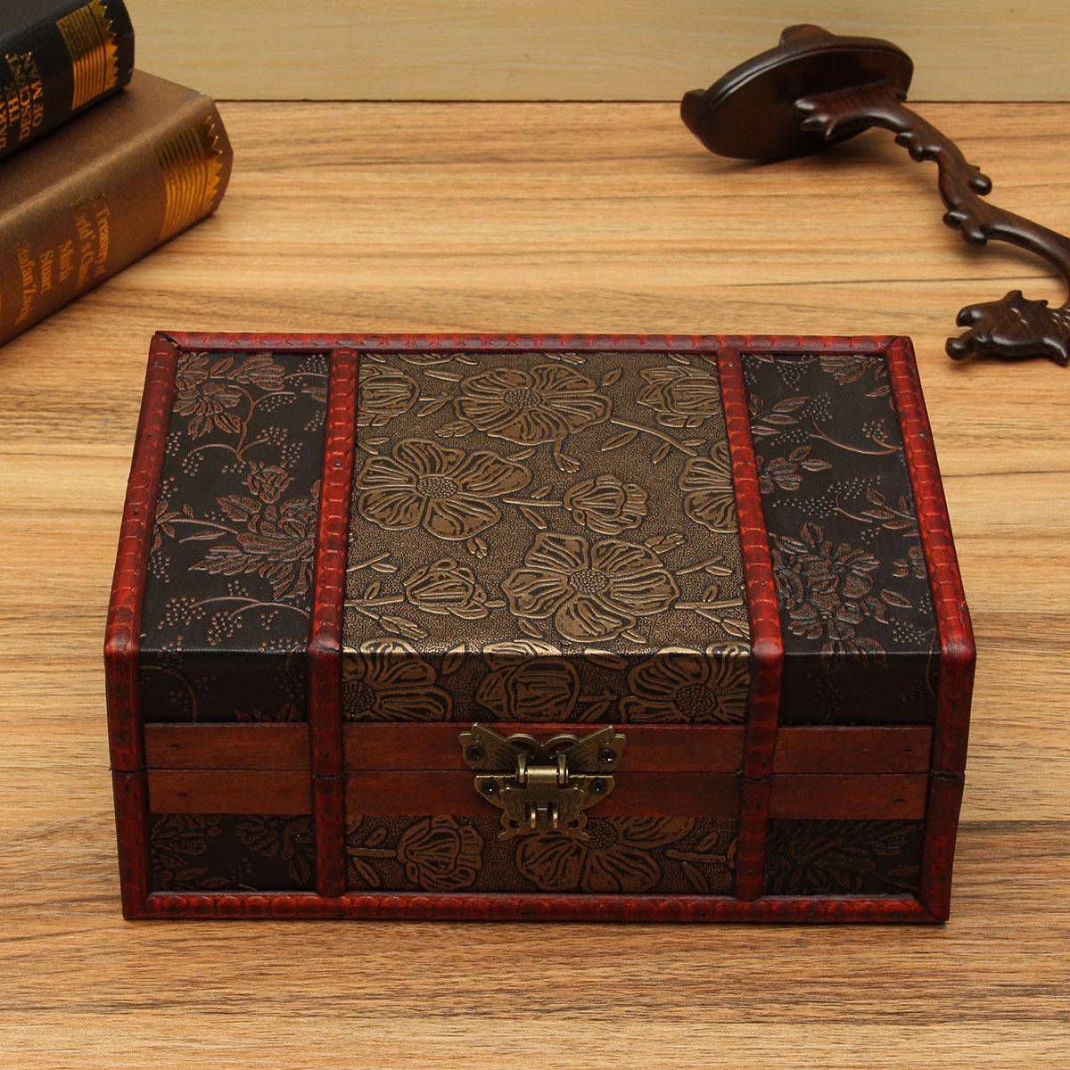 Vermelho vintage retro flor esculpida presente jóias de madeira coletar titular caixa de caixa