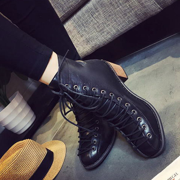 Lace Up Combat Military Ankle Boots