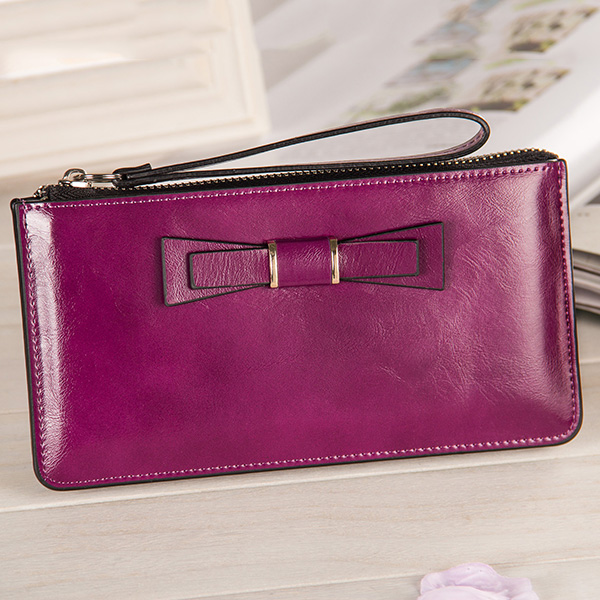 Women Bowknot Long Wallets Zipper Oil Leather Clutches Bags Card Holder 5.5'' Phone Wallets