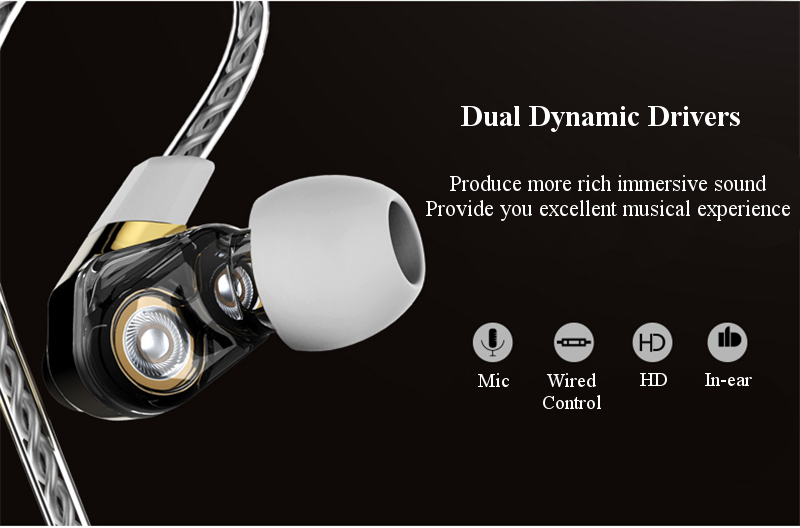 [Dual Dynamic Drivers] REMAX RM-580 In-ear 3.5mm Plug Wire Control Earphone With Mic