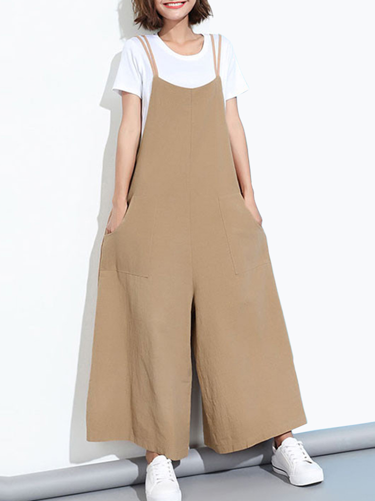 01c9b6bf7359 Loose casual women pure color wide-leg overalls with pocket ...