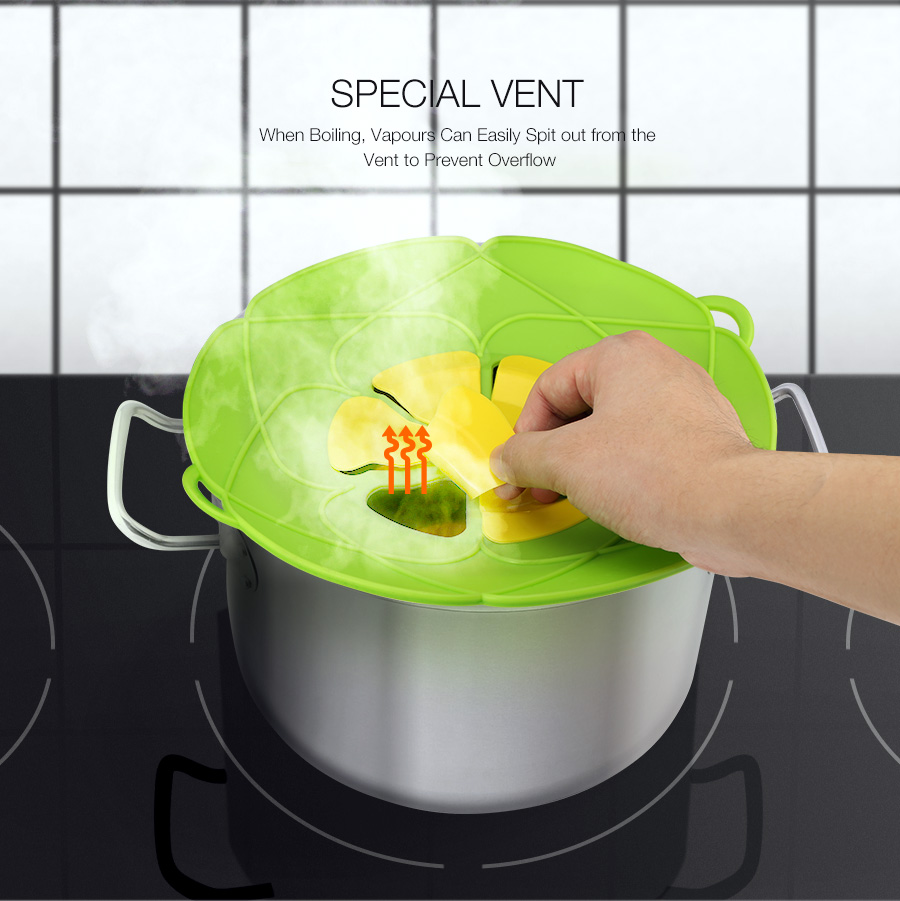 KCASA KC-WW111 28.5cm Diameter Silicone Pot Cover Steam Lids Stops Oil over Spill Stopper