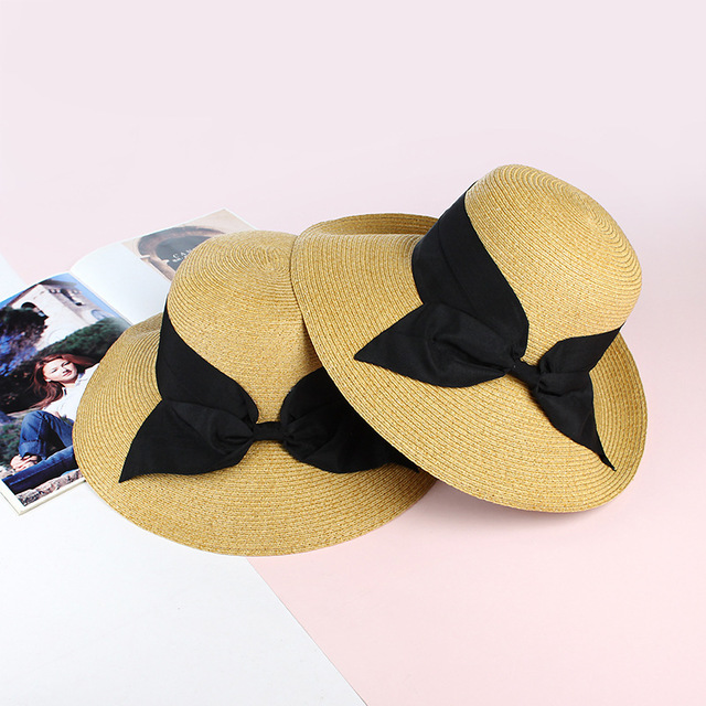 Season New Sun Hat Sun Hao With The Straw Hat Foldable Black Bow Lady Fisherman Hat