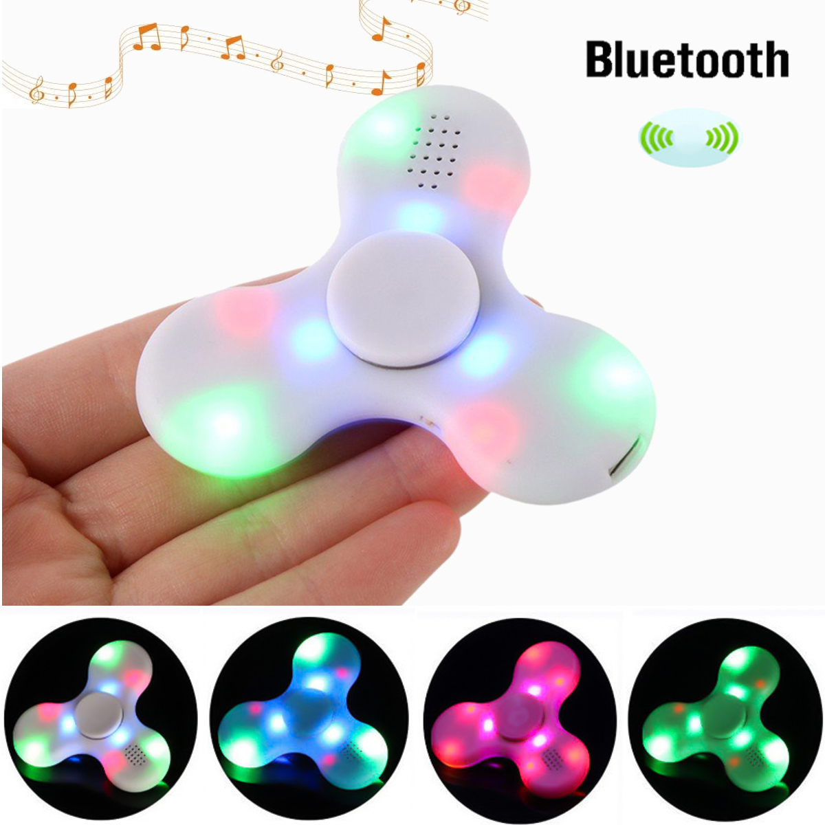 Bluetooth Hand Spinner Chargeable Music LED Fidget.Spinner ...