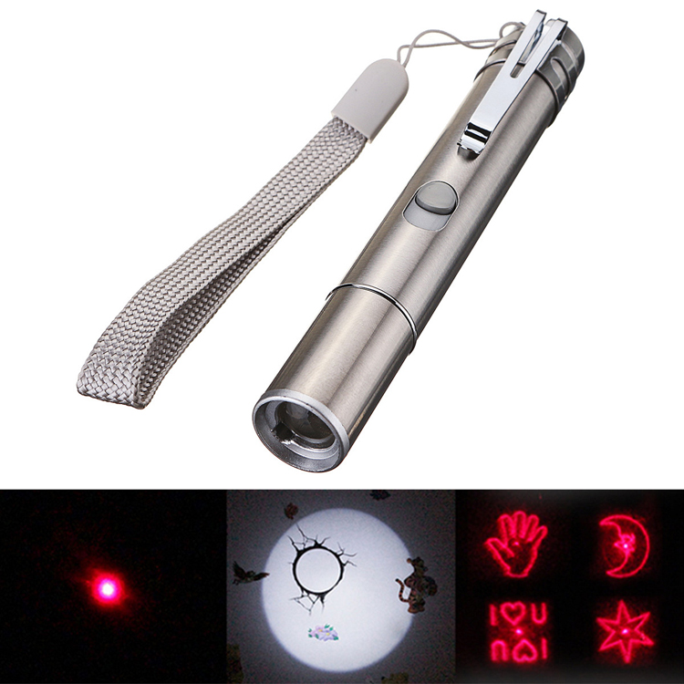 3 in 1 Stainless Steel USB Rechargeable Flashlight Multi pattern Infrared Laser Pen