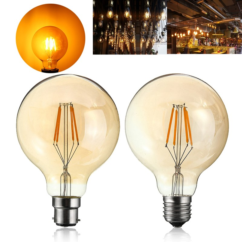 4W G95 E27/B22 Vintage Retro Industrial LED COB Edison Filament Incandescent Light Bulb