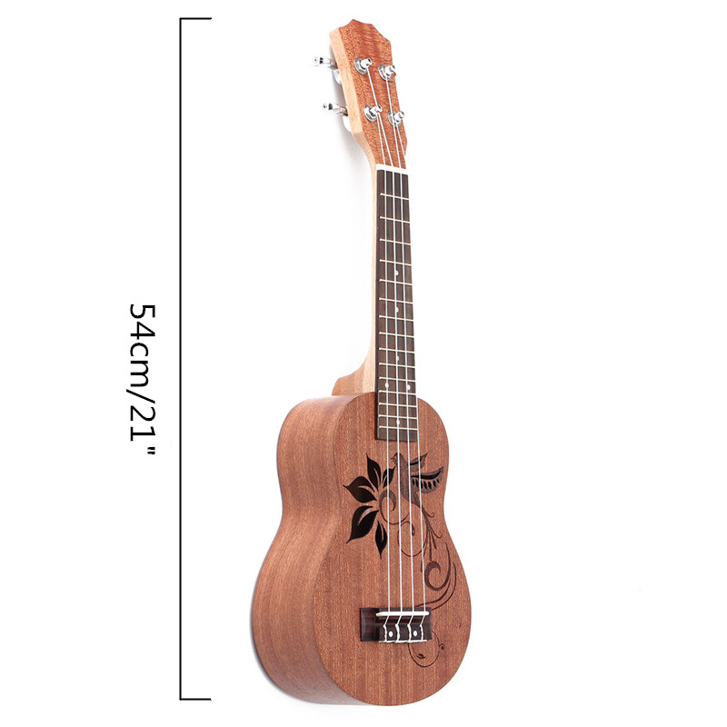 21 Inch Soprano Ukulele Uke Sapele 15 Frets Musical Instrument Flower - Photo: 10