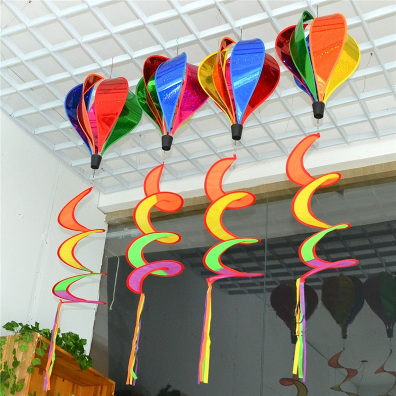 Rainbow Windsock Striped Hot Air Balloon Wind Spinner Twist Lawn Garden Camp Outdoor Decor - Photo: 2
