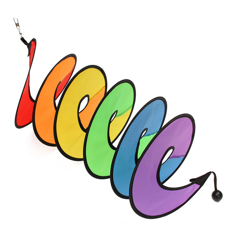 110cm Rainbow Spiral Curlie Tail Windmill Colorful Wind Spinner Tent Garden Decoration - Photo: 5