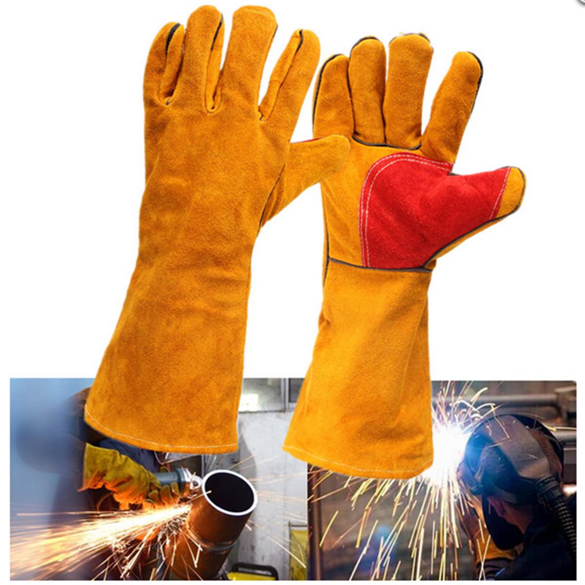 Buy 16inch Heavy Duty Lined Reinforced Palm Welding Gauntlets Welder Labor Gloves