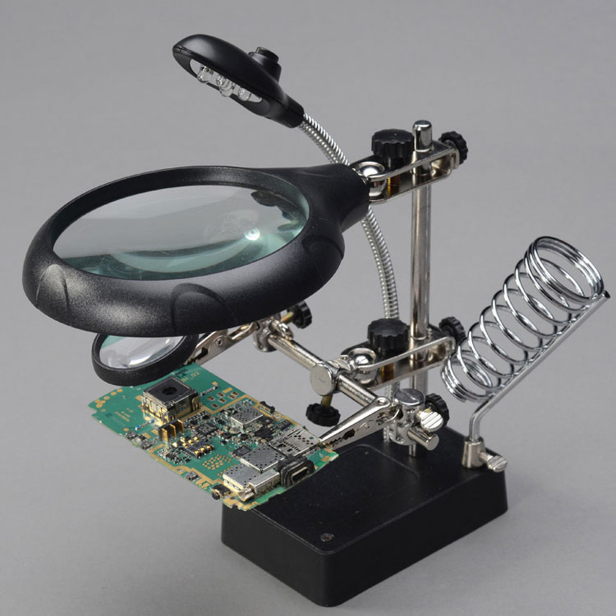 Soldering Iron Stand Clamp Holder Magnifying Lens