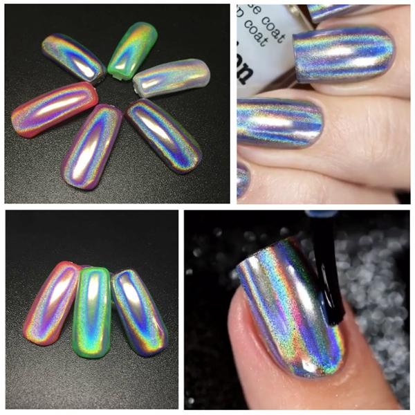 Holographic Laser Nail Art Powder Holo  Effect DIY Powders Silver Pigment Hologram Rainbow