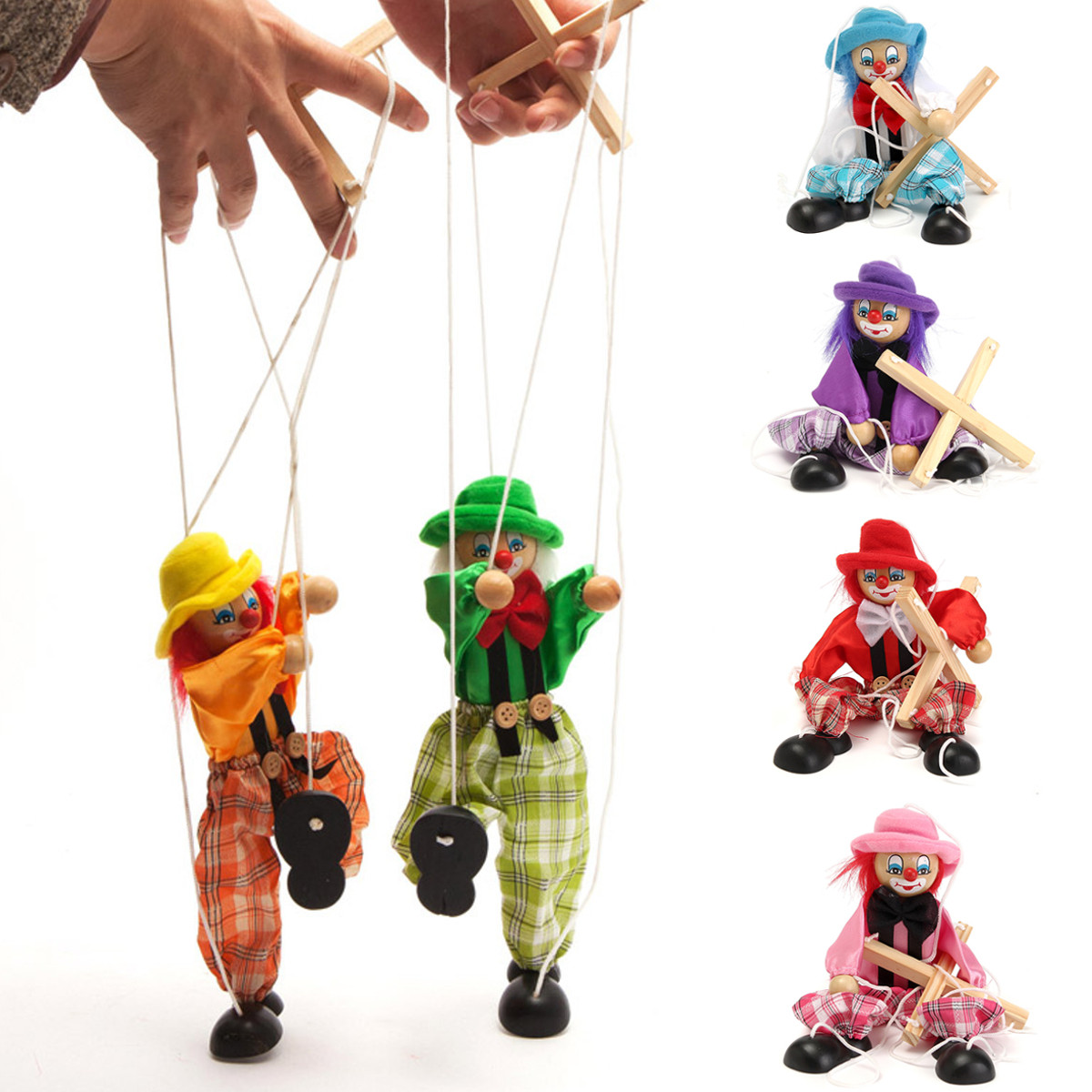 Pull String Puppet Clown Wooden Marionette Doll Vintage Child Kid Gift Christmas - Photo: 2