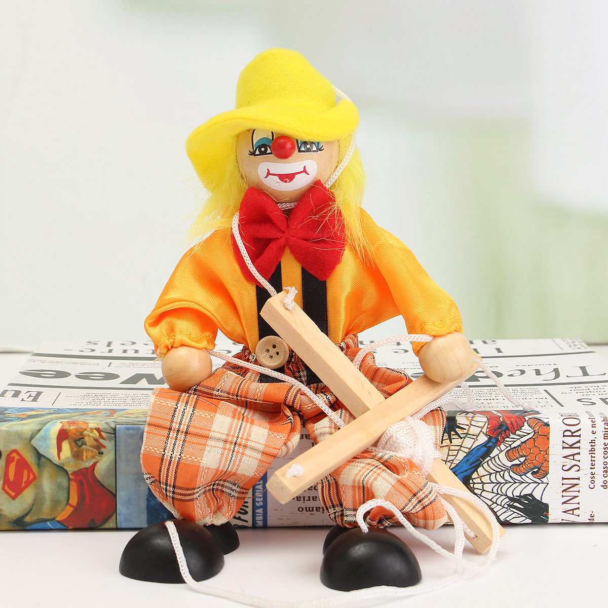 Pull String Puppet Clown Wooden Marionette Doll Vintage Child Kid Gift Christmas - Photo: 5