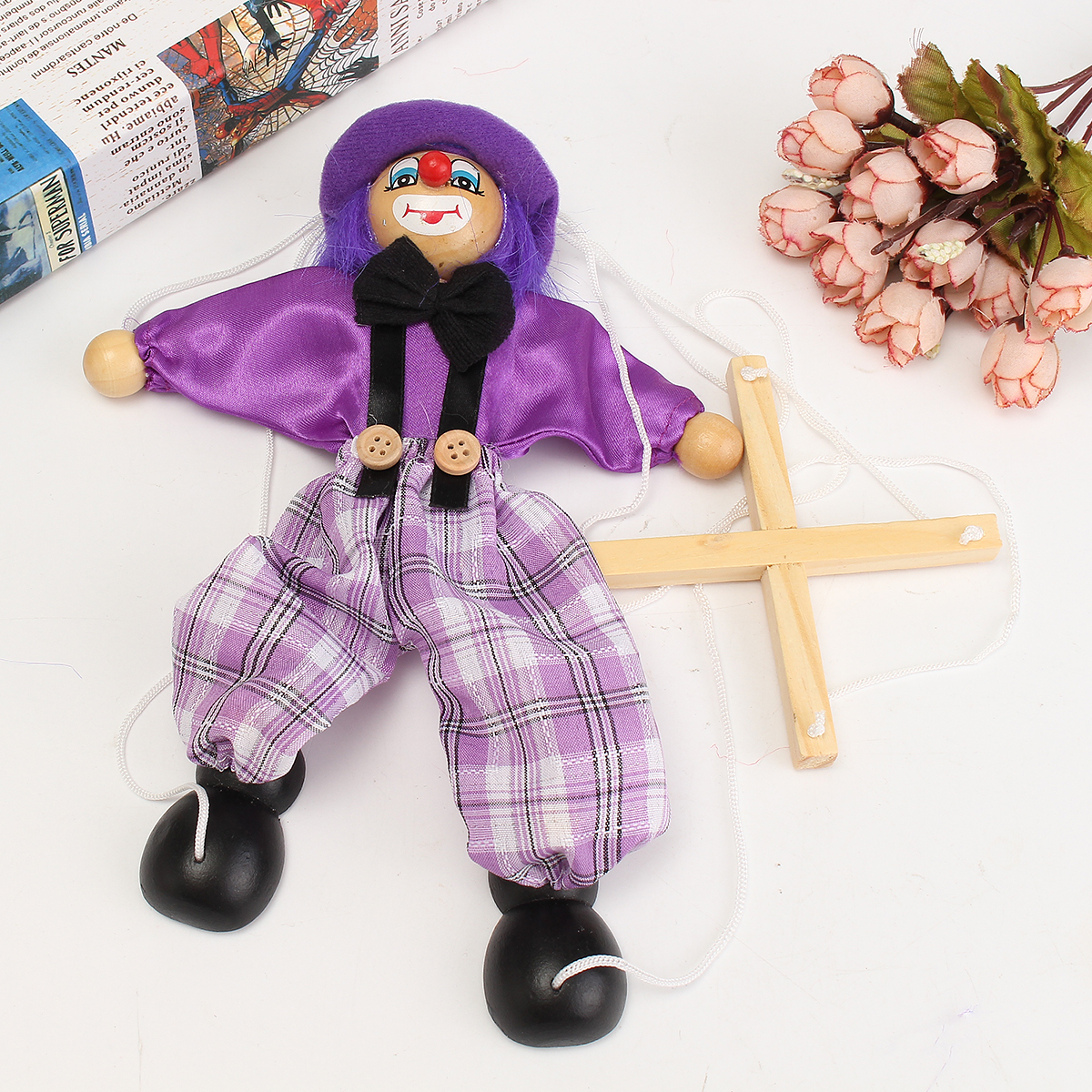Pull String Puppet Clown Wooden Marionette Doll Vintage Child Kid Gift Christmas - Photo: 8